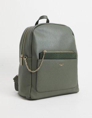 Рюкзак цвета хаки с отдельным карманом крокодиловой отделкой Darley-Зеленый цвет Dune