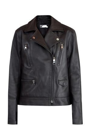 Куртка-косуха в байкерском стиле из матовой кожи KARL LAGERFELD