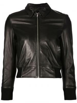 Укороченная кожаная куртка R13. Цвет: чёрный