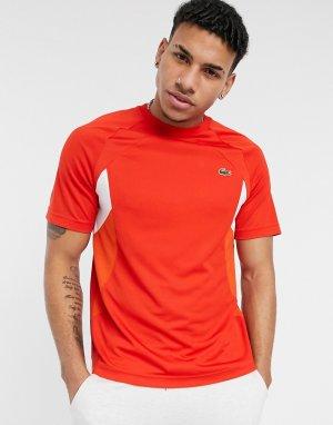 Теннисная спортивная футболка в стиле колор блок из дышащего материала -Красный Lacoste