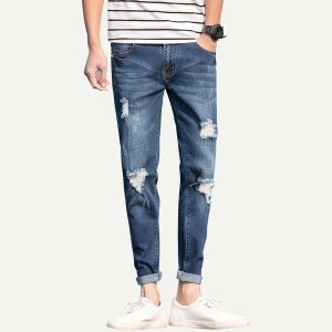 Мужские рваные выбеленные джинсы с рольным краем SHEIN. Цвет: тёмно-синие