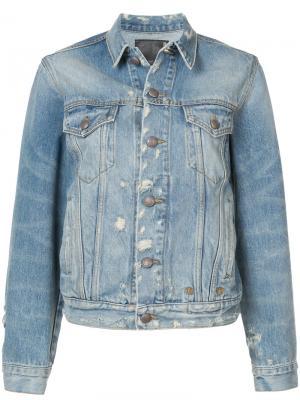 Джинсовая куртка с потертой отделкой R13. Цвет: синий