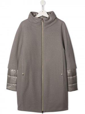 Пальто с дутыми манжетами Herno Kids. Цвет: серый