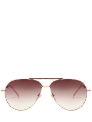 Очки солнцезащитные Linda Farrow. Цвет: золотистый