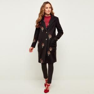 Пальто с вшитым цветочным рисунком и застежкой на пуговицы JOE BROWNS. Цвет: черный