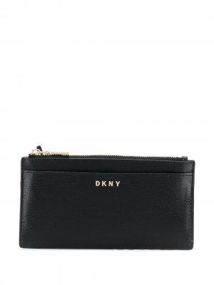Складной бумажник из сафьяновой кожи DKNY. Цвет: черный