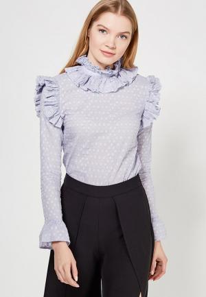 Блуза LOST INK RUFFLE NECK BLOUSE. Цвет: голубой