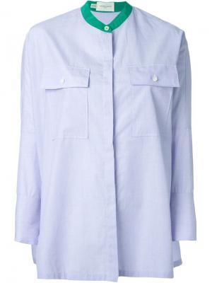 Удлинённая рубашка с воротником мандарин Aquilano.Rimondi. Цвет: синий