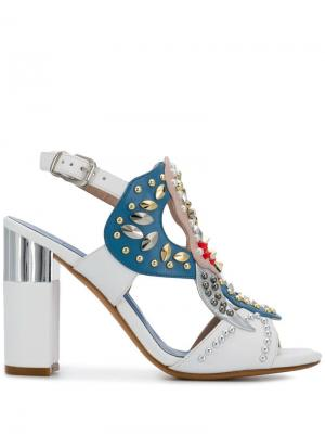 Туфли-лодочки с декором Albano. Цвет: белый
