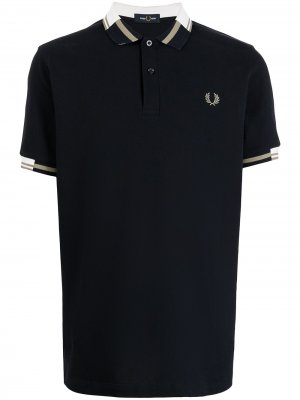 Crest-embroidered polo shirt FRED PERRY. Цвет: синий