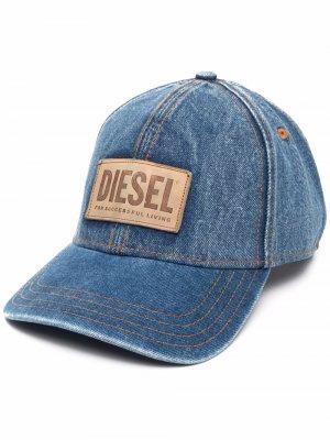 Джинсовая бейсболка с нашивкой-логотипом Diesel. Цвет: синий