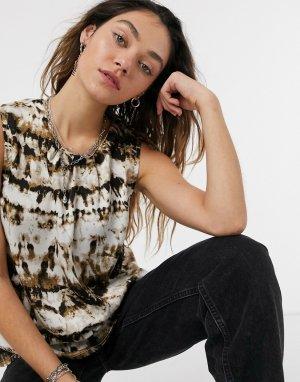 Рубашка свободного кроя с короткими рукавами и леопардовым принтом -Многоцветный Kaffe