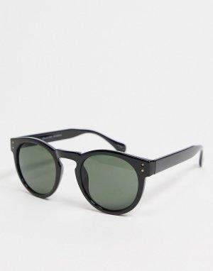 Черные солнцезащитные очки в круглой оправе -Черный цвет Selected Homme