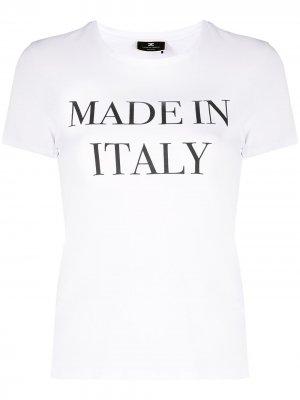 Футболка с принтом Made in Italia Elisabetta Franchi. Цвет: белый