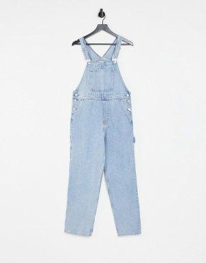 Выбеленный джинсовый комбинезон из органического хлопка Ciara-Голубой Monki