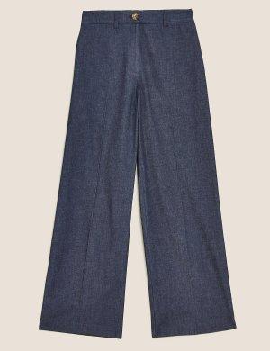 Джинсовые широкие брюки с завышенной талией M&S Collection. Цвет: деним