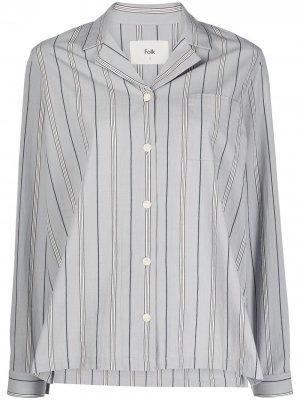 Рубашка в полоску с длинными рукавами Folk. Цвет: серый