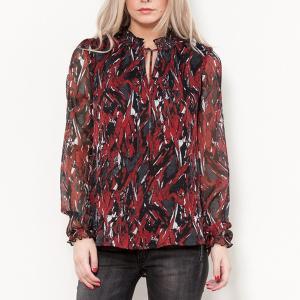 Блузка с рисунком, воротником-стойкой и длинными рукавами LE TEMPS DES CERISES. Цвет: рисунок красный/черный