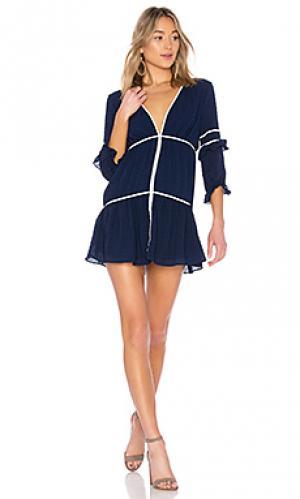 Миди платье с длинным рукавом dahlia ale by alessandra. Цвет: синий