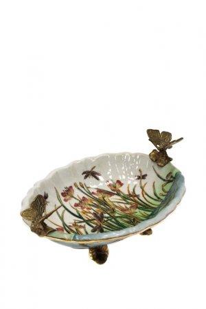 Блюдо с бабочками 22x17x9 см ГЛАСАР. Цвет: голубой