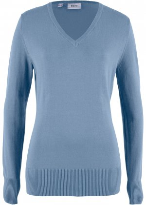 Пуловер тонкой вязки bonprix. Цвет: синий