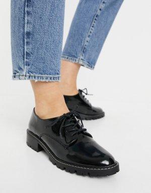 Черные ботинки броги на шнуровке -Черный цвет Miss Selfridge