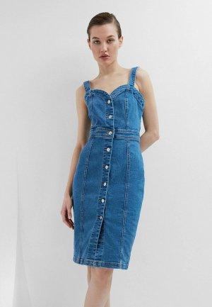 Платье джинсовое Zarina Exclusive online. Цвет: синий