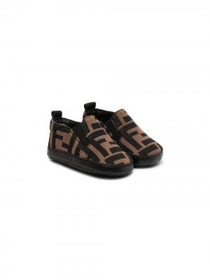 Кроссовки с логотипом FF Fendi Kids. Цвет: коричневый