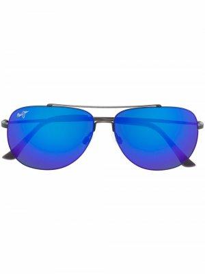 Солнцезащитные очки-авиаторы Maui Jim. Цвет: серебристый