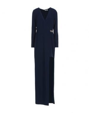 Длинное платье HALSTON. Цвет: темно-синий