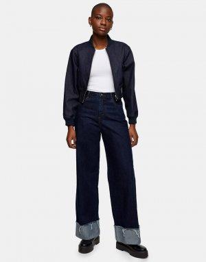 Широкие джинсы цвета индиго -Голубой Topshop