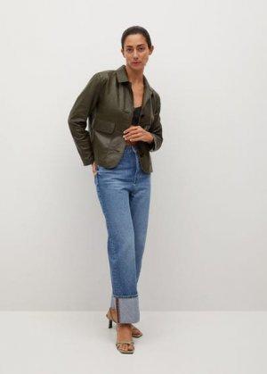 Кожаная куртка с карманами - Fina-i Mango. Цвет: хаки
