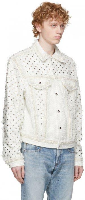 SSENSE Exclusive White Tweed Jacket Faith Connexion. Цвет: 100 white