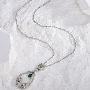 Ожерелье с цирконом каплей воды SHEIN. Цвет: серебряные