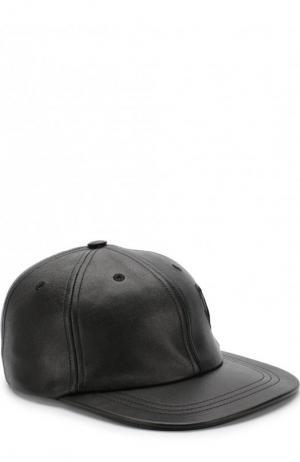 Кожаная кепка Saint Laurent. Цвет: черный