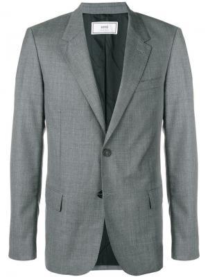 Пиджак на двух пуговицах с подкладкой AMI Paris. Цвет: серый