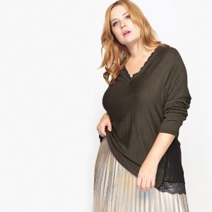 Пуловер с кружевным вырезом CASTALUNA. Цвет: хаки