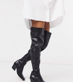 Черные кожаные ботфорты в стиле вестерн -Черный Chio