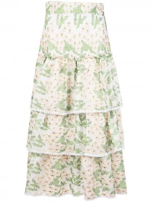 Расклешенная юбка Aditya Alexis. Цвет: зеленый