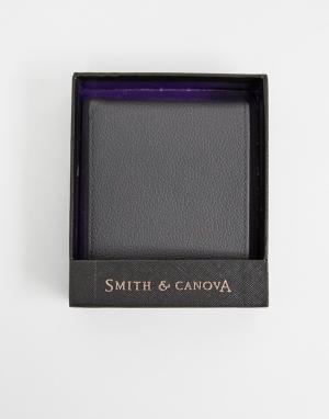 Серый кожаный бумажник Smith & Canova And. Цвет: серый