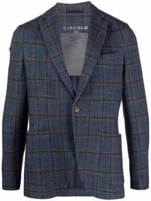 Однобортный пиджак в клетку Circolo 1901. Цвет: синий