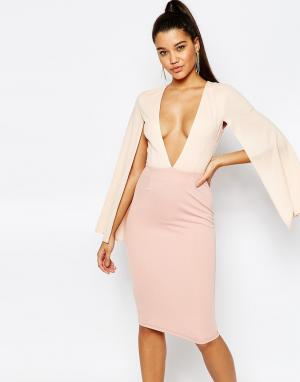 Платье миди с V-образным вырезом и рукавами кейп London-Розовый Rare