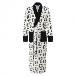 Хлопковый халат Dolce & Gabbana. Цвет: белый