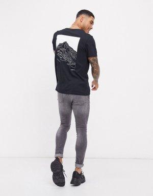 Черная футболка в стиле oversized с принтом на спине Core-Черный Jack & Jones