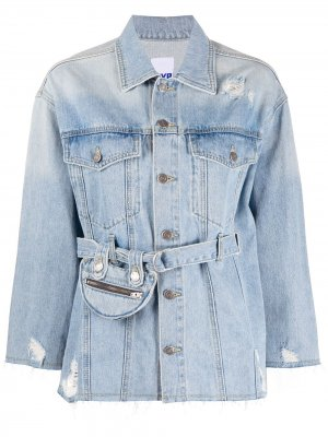 Джинсовая куртка с карманами и поясом SJYP. Цвет: синий