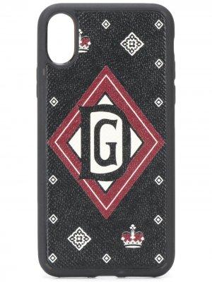 Чехол для iPhone X с принтом Dolce & Gabbana. Цвет: черный