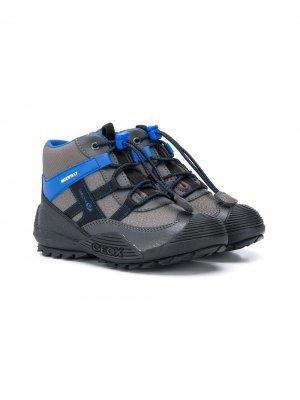 Зимние сапоги на шнуровке Geox Kids. Цвет: серый