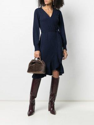 Платье тонкой вязки с запахом DVF Diane von Furstenberg. Цвет: синий