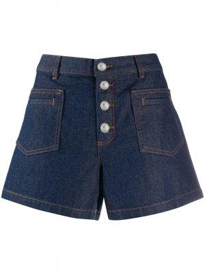 Джинсовые шорты на пуговицах A.P.C.. Цвет: синий