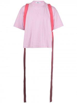 Футболка с ремешками AMBUSH. Цвет: розовый